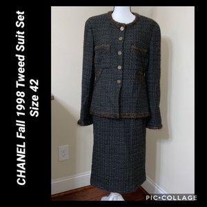 CHANEL Fall 1998 Tweed Suit Set Size 42